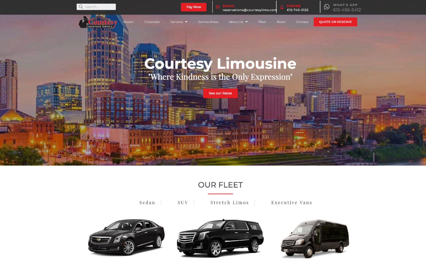 Homepage of Courtesy Limousine website