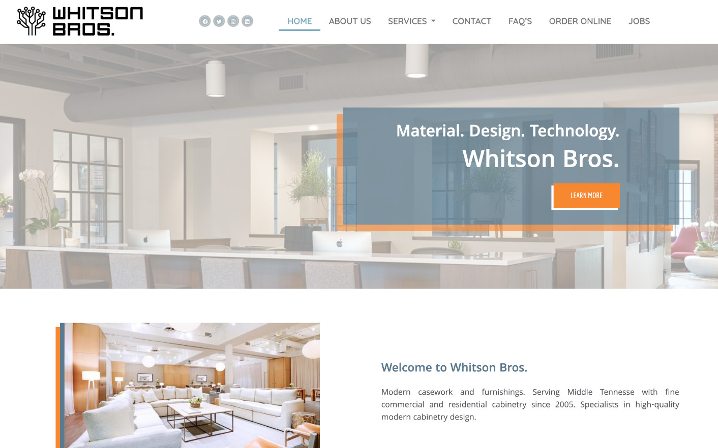 Homepage of Whitson Bros website